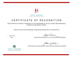 Thank you Vital Voices for Your Certificate of Recognition.