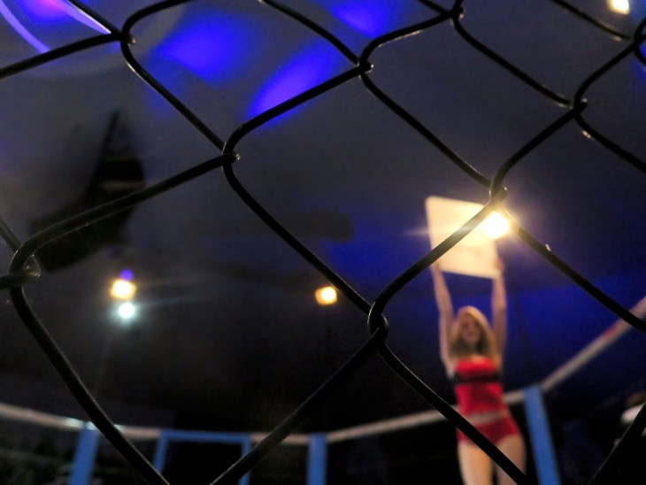 ODESSA, UKRAINE - May 1, 2017: Octagona. Boxing ring girl holding a board with round number. fighting in the ring extreme Sport mixed martial arts on the competition tournament MMA. Selective focus