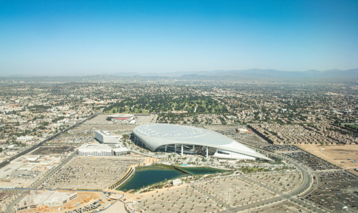 Los Angeles, California/USA - 10/13/2020: Aerial View of SoFi Stadium home of the LA Rams and the LA Chargers.