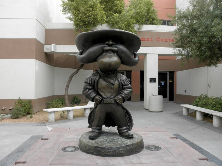 Las Vegas - February 5, 2010: Hey Reb, a Western frontiersman, Statue at UNLV . Unveiled in September 2007 in the Courtyard of the Richard Tam Alumni Center.