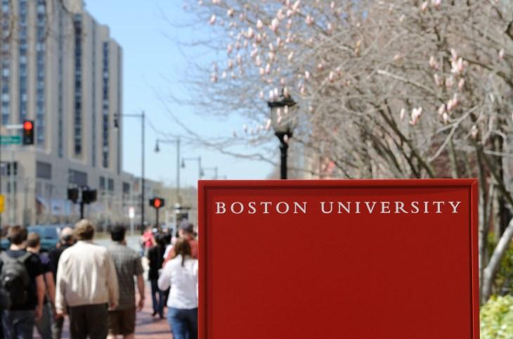boston university sign on campus