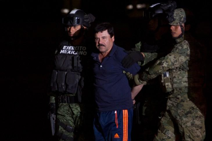 "Mexico City, Mexico January 8 2016 Joaquín Archivaldo Guzmán Loera ""El chapo"", a Mexican drug trafficker, is presented to the media in a hangar at the airport in Mexico City."