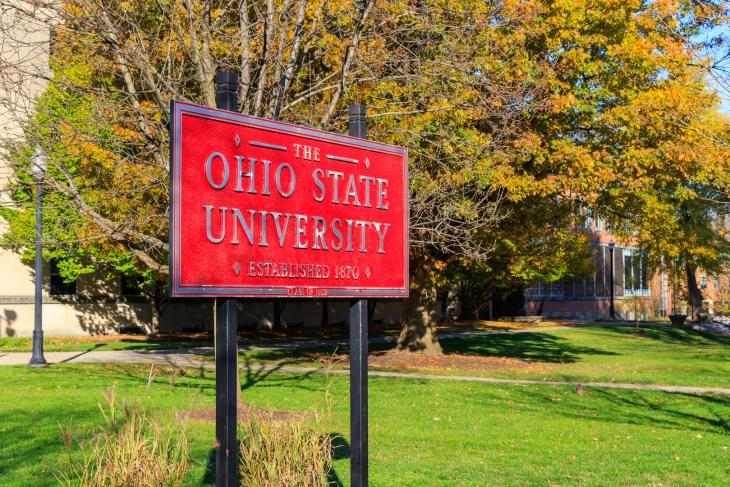 COLUMBUS, OH, USA -NOVEMBER 7: Entrance Sign at The Ohio State University on November 7, 2020 in Columbus, Ohio.