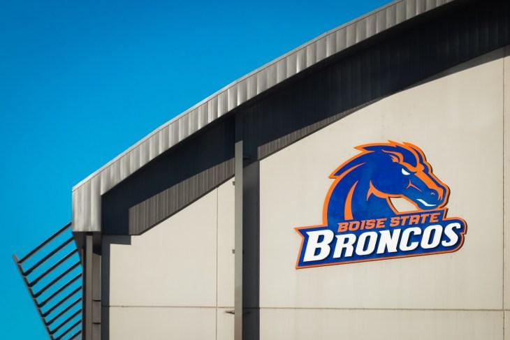 Boise, Idaho - December 27, 2018: Boise State University broncos logo signage as seen at the football stadium downtown.