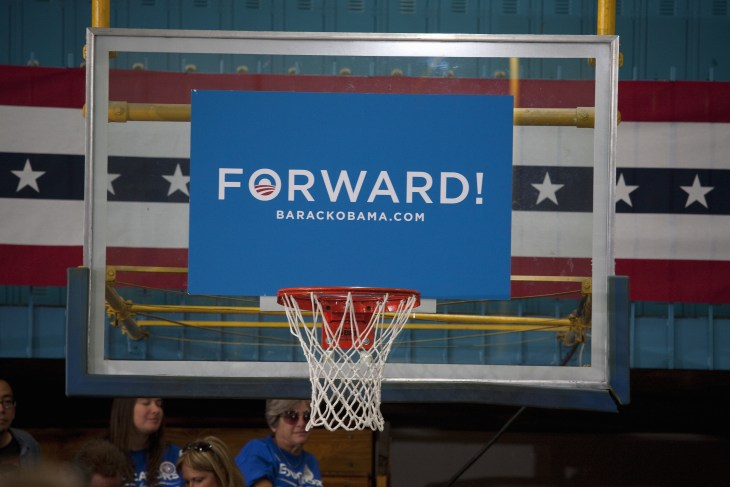 LAS VEGAS - OCTOBER 26: Sign says Forward! on a backboard at the Democratic Party campaign rally on October 26, 2012 at Orr Middle School in Las Vegas, Nevada.