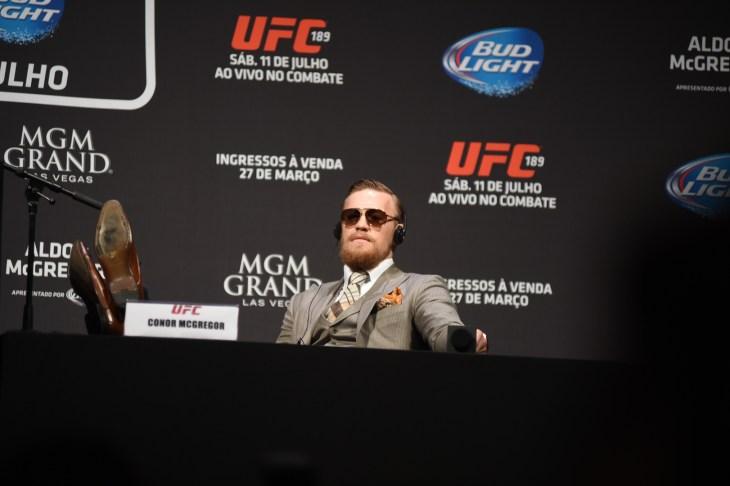 Rio de Janeiro- brazil March 10, 2018 UFC press conference with fighter Conor McGregor and Dana White
