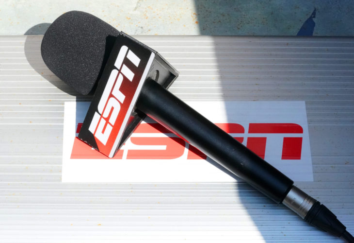 PARIS, FRANCE- MAY 24, 2015: ESPN microphone ready for interview at Roland Garros 2015 in Paris, France