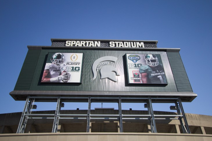 East Lansing, Michigan, USA - September 17, 2018: Exterior of Spartan Stadium on the Michigan State University campus. Spartan Stadium is the home of the MSU Spartans Football team.