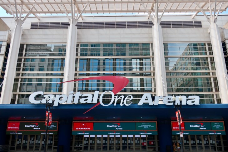 WASHINGTON - JULY 6, 2019: CAPITAL ONE ARENA sign at entrance to stadium. The venue is owned by Monumental Sports and is the home of the Washington Capitals and the Washington Wizards