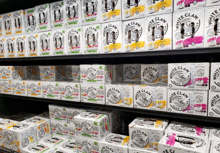 Irvine, California/United States - 09/01/2020: A view of a display case full of cases of White Claw hard seltzer beverages, seen at a local grocery store.