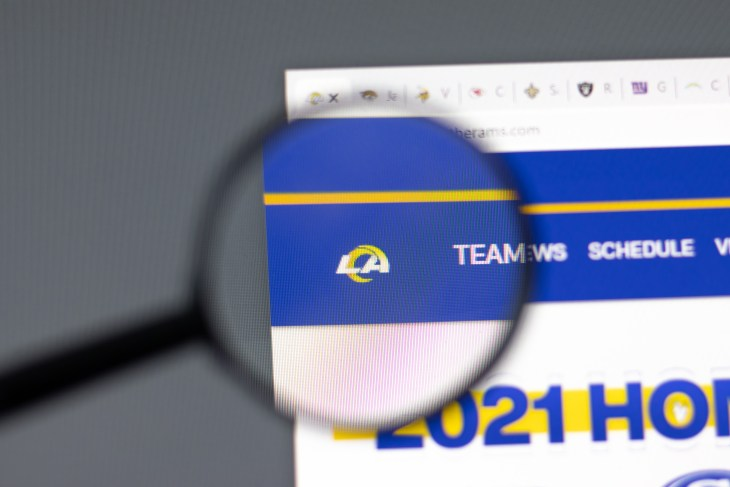 New York, USA - 15 February 2021: Los Angeles Rams website in browser with company logo, Illustrative Editorial