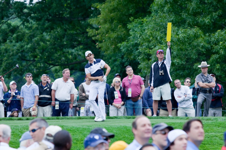 FARMINGDALE, NY - JUNE 16: Columbian Camilo Villegas drives off the 5th hole on the Black course during the 2009 US Open on June 16, 2009 in Farmingdale, NY. Matt Kutchar looks on.