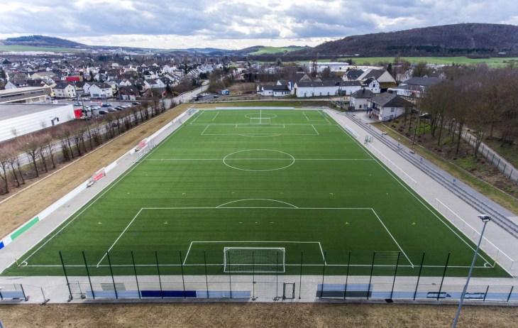 Aerial view of a smal sports soccer football field in a village near andernach koblenz neuwied in Germany