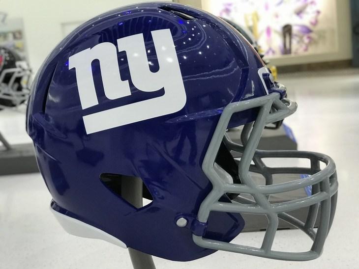 Minneapolis, MN/USA- January 10, 2017-New York Giants Jumbo Helmet set up for the Super Bowl LII.