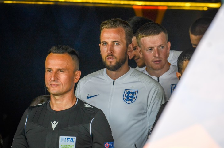GUIMARAES, PORTUGAL - June 09, 2019: Harry Kane enter o the field during the UEFA Nations League Finals match for third place between Switzerland and England, Portugal