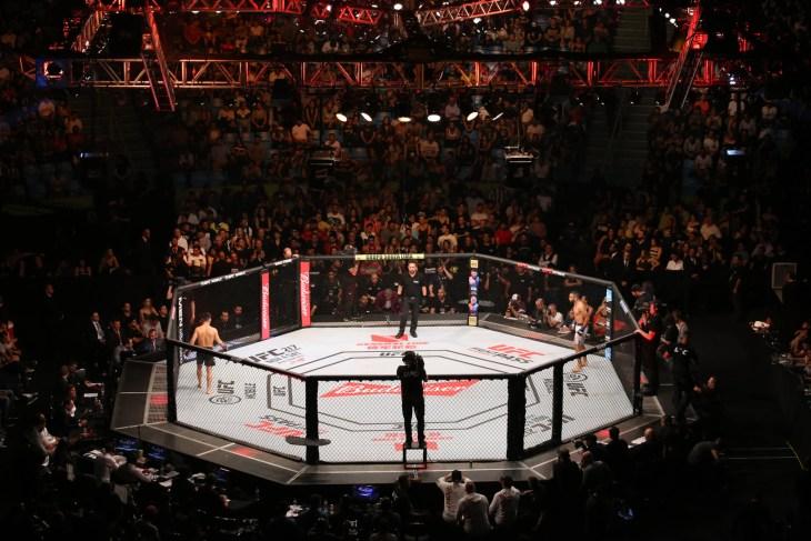 São Paulo, São Paulo, Brazil, October 28, 2017. UFC Fight Night: Brunson vs. Machida. Rooster Weight category fight – Pedro Munhoz vs. Rob Font.