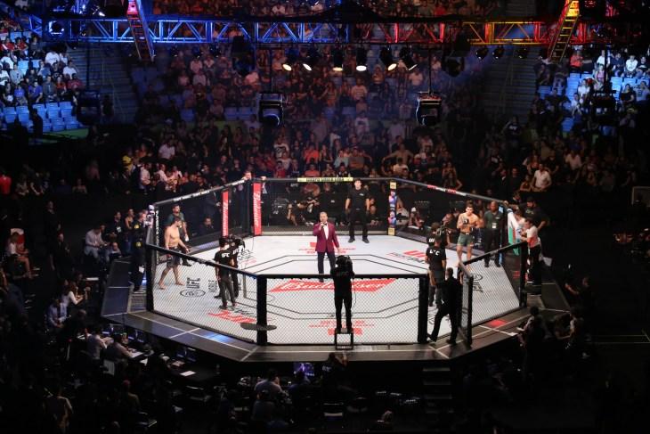 São Paulo, São Paulo, Brazil, November 16, 2019. UFC Fight Night - Jan Blachowicz x Ronaldo Jacaré - Octagon, stadium gym.