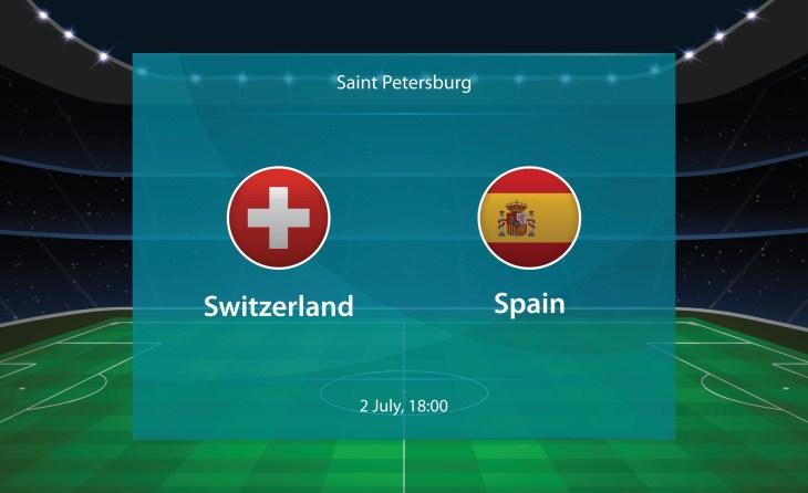 Switzerland vs Spain football scoreboard. Broadcast graphic soccer template