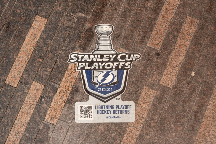Tampa, Florida - USA - July 5, 2021: A 2021 Stanley Cup Playoffs Sticker at Curtis Hixon Waterfront Park in Tampa, Florida. Tampa Bay is playing the Montreal Canadiens for the 2021 Stanley Cup