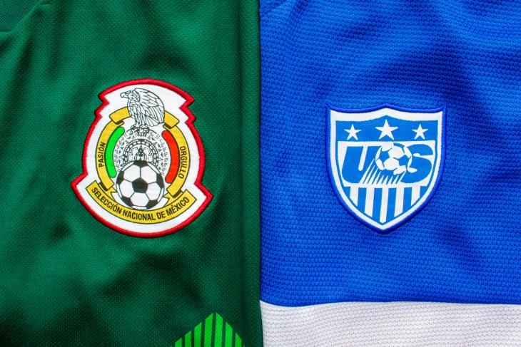 Calgary, Alberta, Canada. July 10, 2020. Green Mexican jersey vs Blue USA jersey national logos.