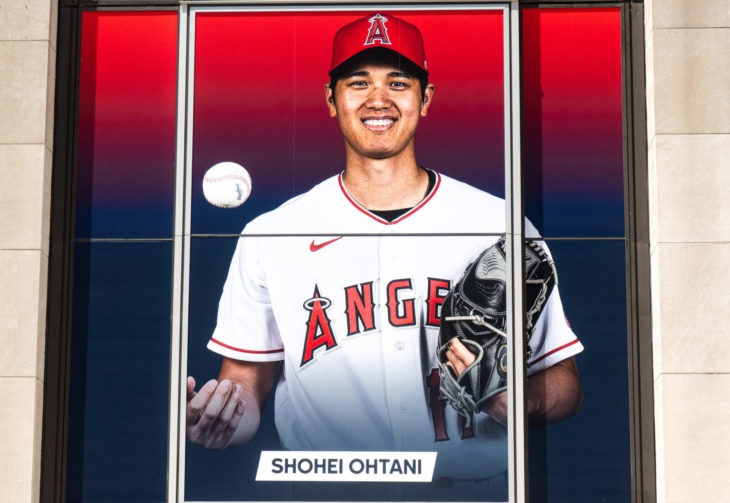 Big panel in front of The MLB Flagship Store. 7.14.2021, NYC, NY. Shohei Ohtani is pitcher, designated hitter and outfielder for the Los Angeles Angels of Major League Baseball and a hottest new star