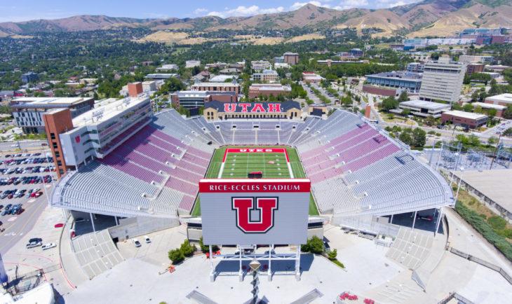 SALT LAKE CITY, USA - JUN. 18, 2018: Aerial view of Rice–Eccles Stadium in University of Utah in Salt Lake City, Utah, USA. It is the home of Utah Utes and served as the main stadium for 2002 Olympics