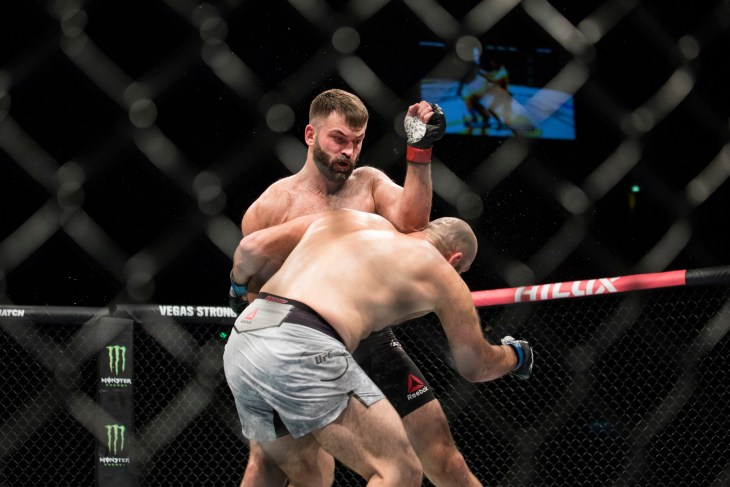 """Fight between Andrei Arlovski and Shamil Abdurakhimov at at UFC Moscow fight night: Hunt vs. Oliynyk. """"Olympiisky"""" Stadium in Moscow, Russia. 15th of September 2018."""