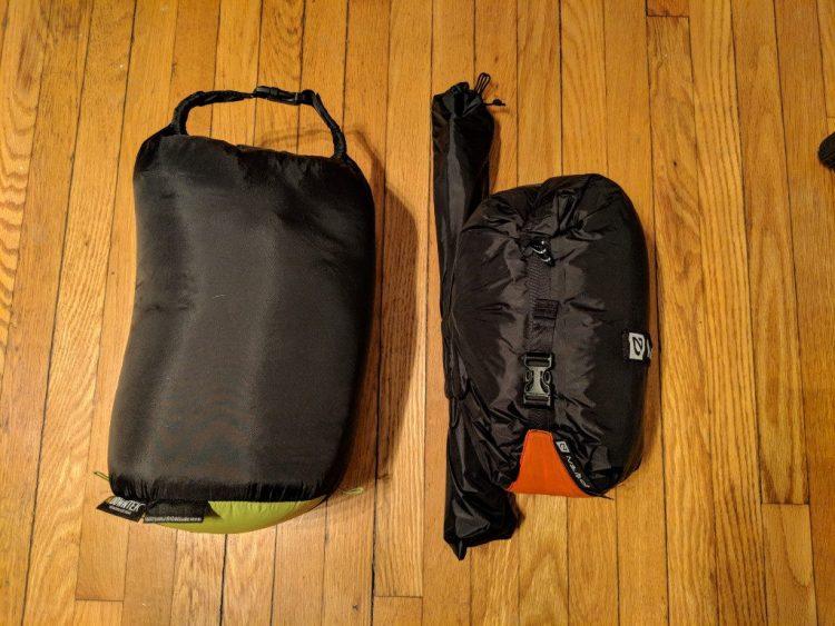 20 degree down sleeping bag (left), Nemo Kunai 2P tent (right)