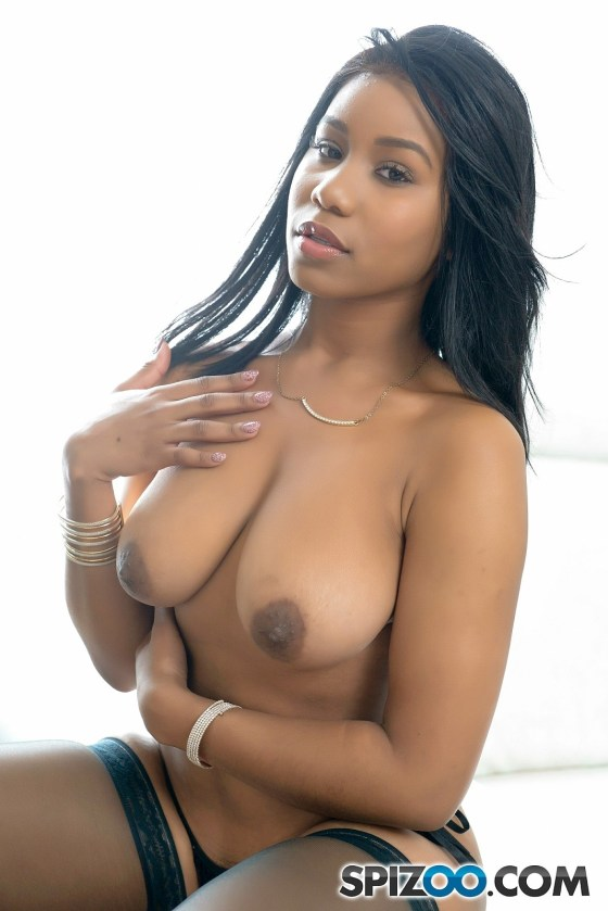 jenna foxx busty big tits black ebony natural breasts topless lingerie