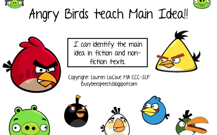 Angry Birds Teach Main Idea: Lesson & Game!