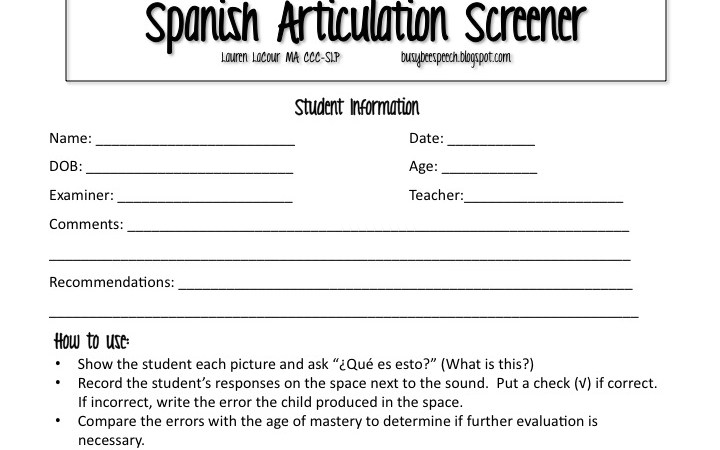 Spanish Articulation Screener
