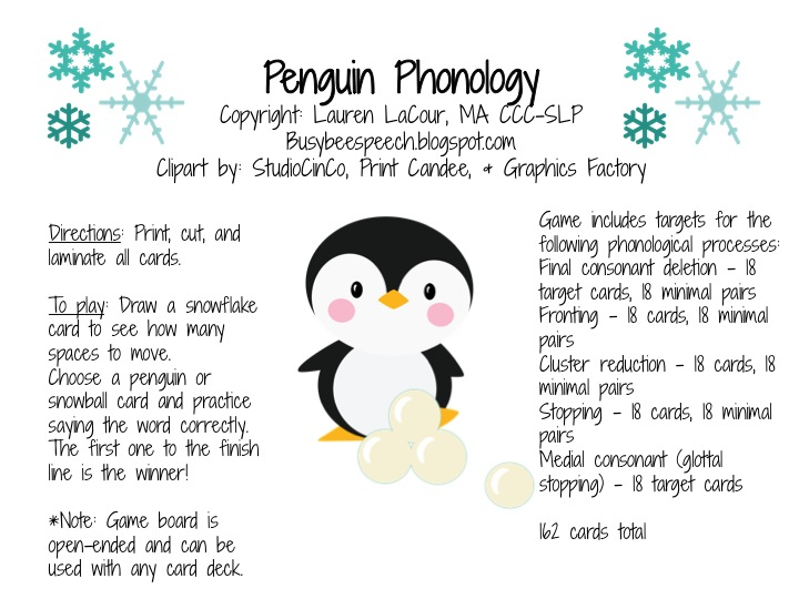 Penguin Phonology Busy Bee Speech – Final Consonant Deletion Worksheets