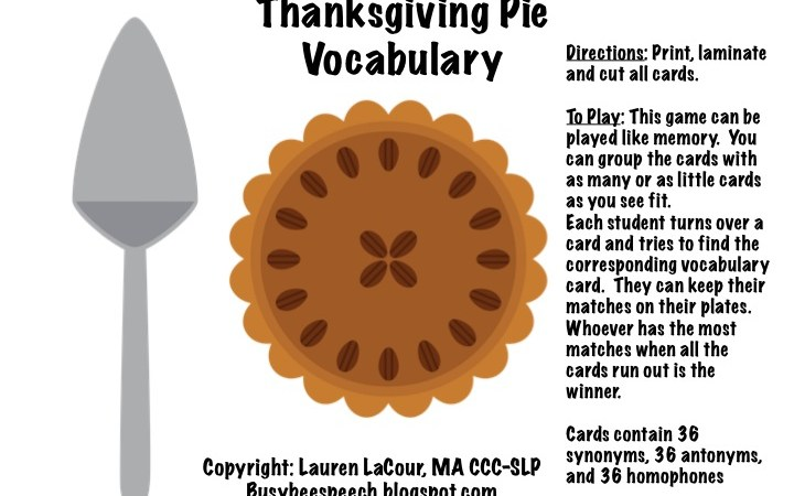 Thanksgiving Pie Vocabulary