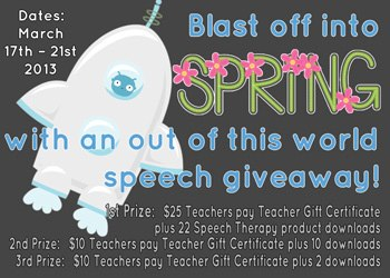 Blast Off into Spring Speech Giveaway!