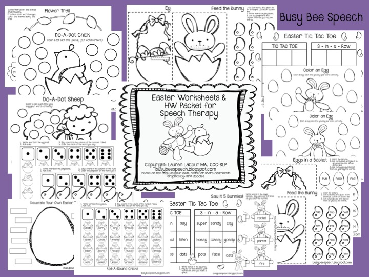easter worksheets hw packet busy bee speech. Black Bedroom Furniture Sets. Home Design Ideas