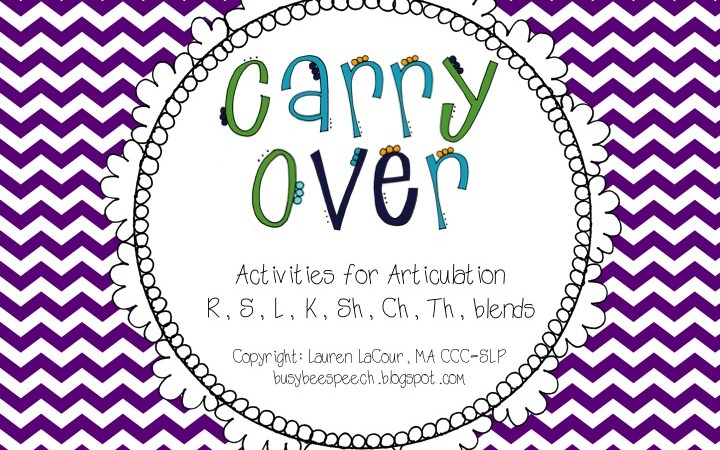 Articulation Carry-Over Activities