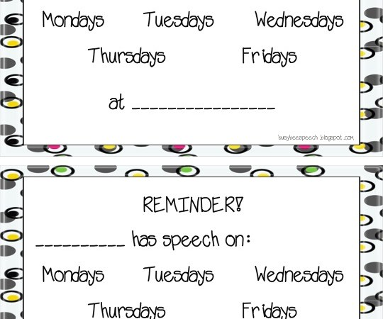 Speech Reminder Cards Freebie