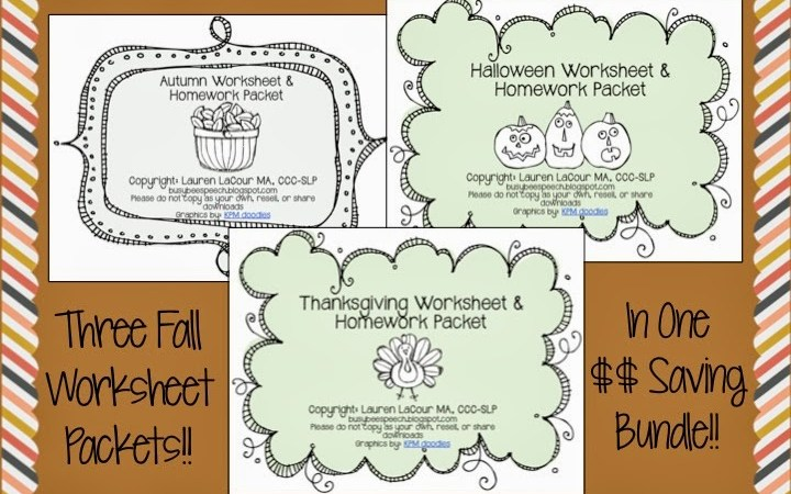 Fall Worksheet Packets and Bundles!