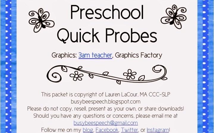 Preschool Quick Probes FREEBIE