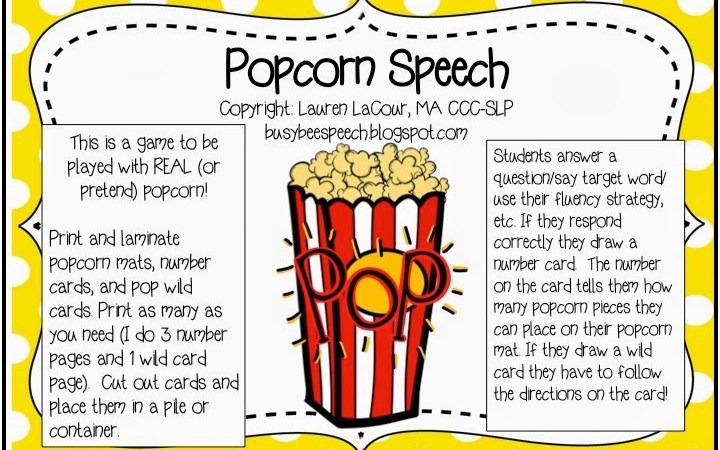 Popcorn Speech {FREEBIE}