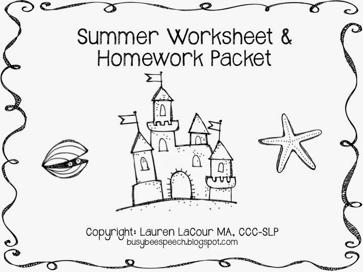 Summer Worksheets with a Freebie Busy Bee Speech – Summer Worksheets