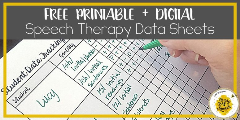 Free speech therapy data sheets