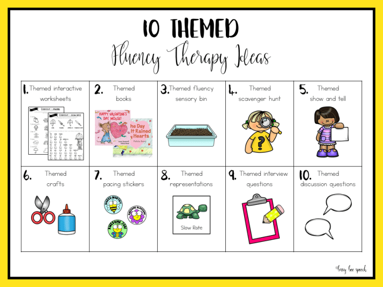 10 themed fluency therapy ideas