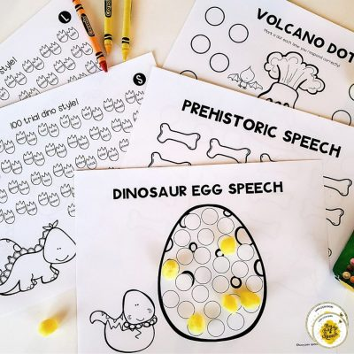 dinosaur speech therapy theme worksheets