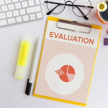 evaluation clipboard on a desk