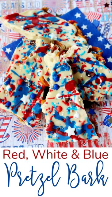 Red, White and Blue Pretzel Bark