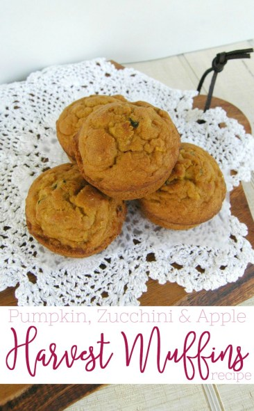 Put your fall pumpkin, zucchini and apples together with a few other ingredients, and you get one heck of a moist and delicious harvest muffins recipe!