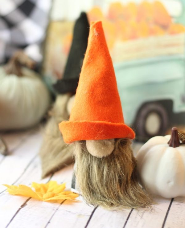 I created some cute little DIY fall gnomes in autumn colors to boost up my fall decor! These sweet little guys are a fun and easy DIY craft!