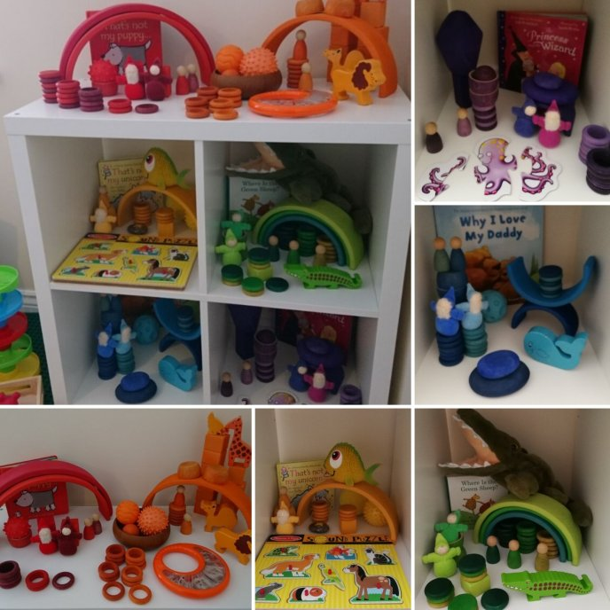 Shelfie - colour theme - early years - toddler play - Grapat - Grimms - Wooden Toys