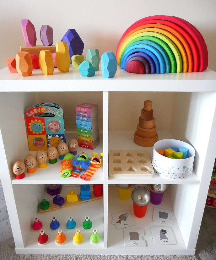 Shelfie - early years - toddler play - Grimms - Hape - Melissa & Doug - Ocamora - Wooden Toys - Feelings - Emotions - Construction - Stacking- Mindfulness - Puzzles - Jigsawa - Colours - Matching - Language - Words - Music - Textures